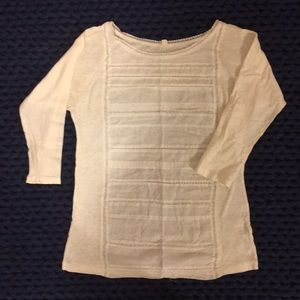 J.Crew 3/4 sleeve white blouse cotton lace